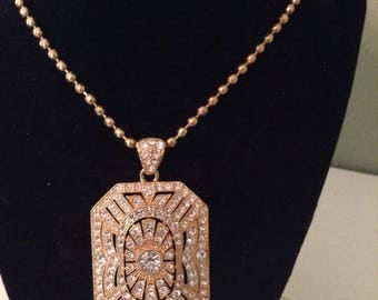 Large  Gold and CZ Rectangle Cropped Corner Pendant