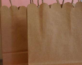 5 Paper Kraft Favor/ Gift Bags With Handles