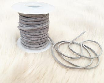 Genuine grey suede leather lace. Suede for a tie choker. UK leather supplier.  Jewellery making.  Suede for crafts. gsll-2