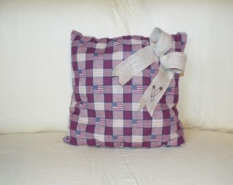 American Flag Pillow with Burlap Ribbon