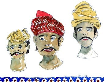 Indian male head wraps, ink pen and watercolor, print in sizes A5 and A4