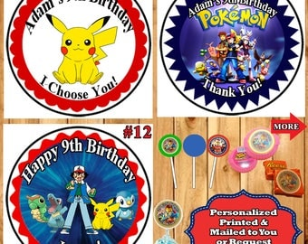 Pokemon Birthday Stickers Round Favor Bag Stickers Candy Stickers 1 sheet Personalized Custom Made