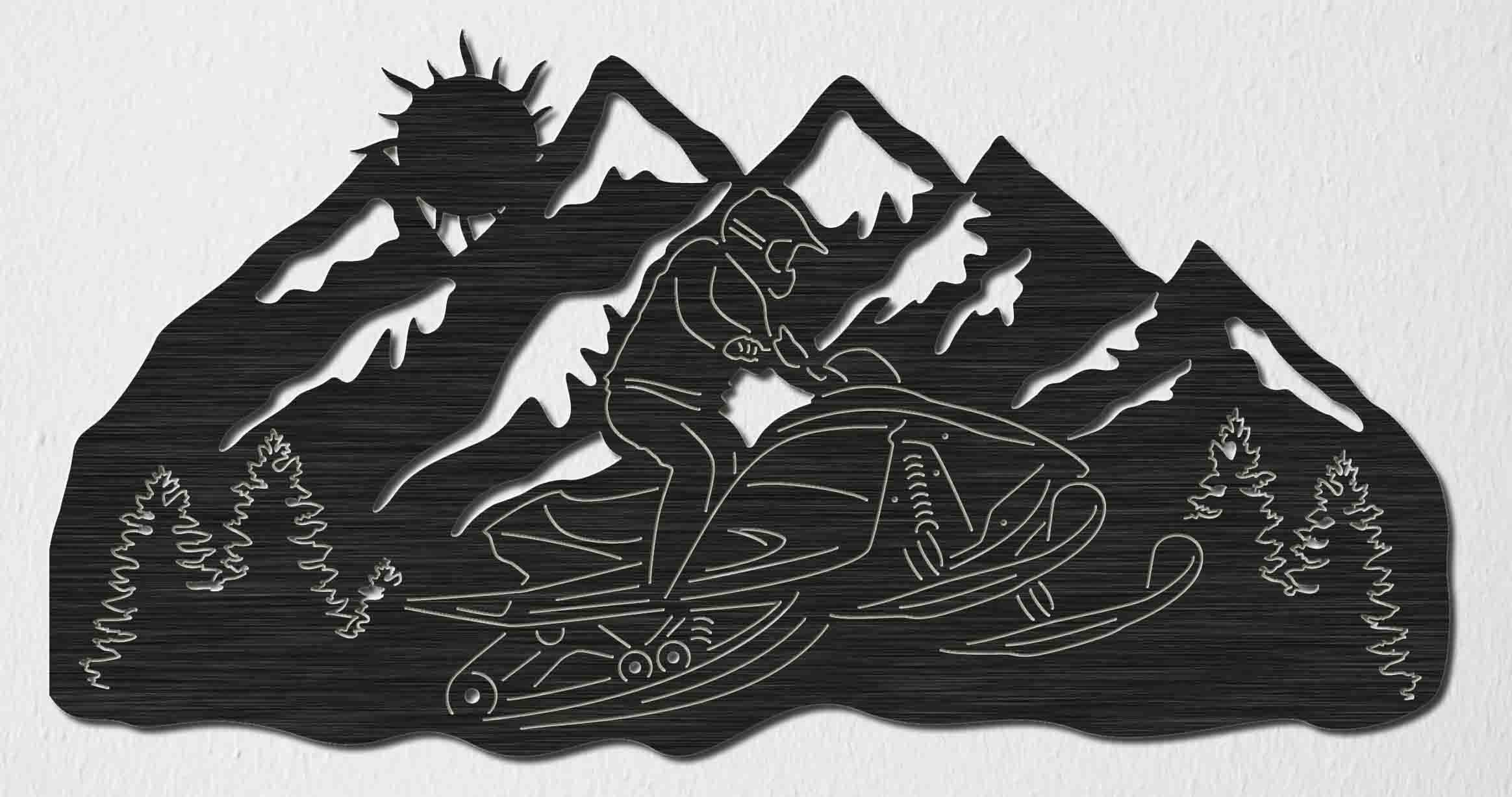 Snowmobile Riding And Mountains View Scene Dxf Files Cut Ready
