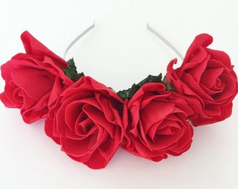 Large Red Rose Flower Crown. Floral Headband