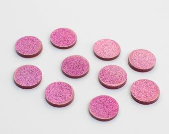 Glitter Acrylic Blanks 16mm | Monogram Blanks | Craft Blanks | Hot Pink Glitter Blanks | Round Blanks | Earring Blanks |
