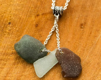 multi colour seaglass pendant