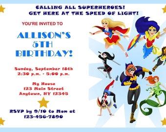 DC Superhero Girls Invitation