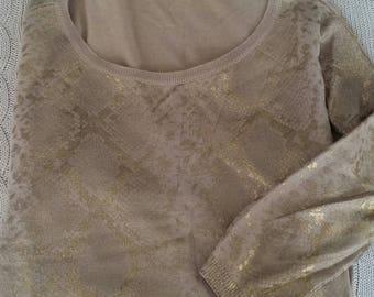 Zaraknit beige gold fleck top