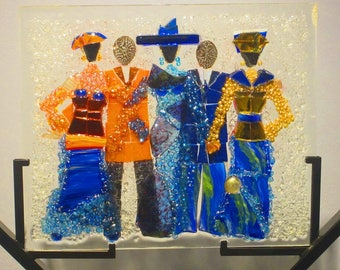 Stepping Out in Style Glass Mosaic Art with Bright Colors / Couples Gift/ Centerpiece/ Afro Centric Art/ Christian Art