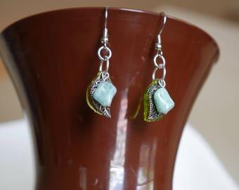 Silver Dangle Leaf Earrings