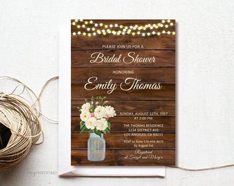 Rustic Floral Bridal Shower Invitation, Wood Bridal Shower Invite, Mason Jar Wood Bridal Shower Invitation, PERSONALIZED, Digital file, #D04