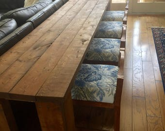 Natural Solid Wood Sofa table with Hide-Away Chairs