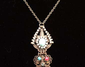 Rustic Gold & Turquoise Necklace (26 in chain)