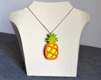 Pineapple made of rough wood and polymer clay necklace