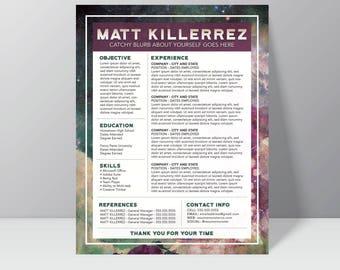 SPACE CADET - Resume // creative resume // professional resume // resume design // cv design // resume