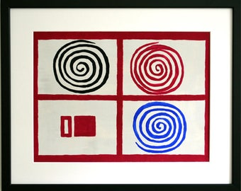 Circles in Red, gouache paint on paper, 43 x 53 cm incl. frame