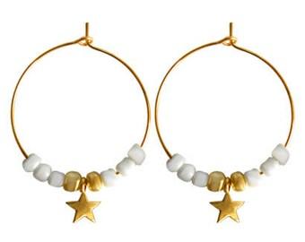 Earrings Rings Star Beaded-Gold
