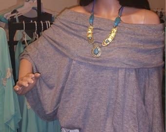 Gray Poncho Style Wrap