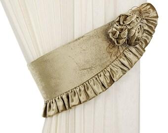 Velour tiebacks, Curtain tiebacks, Curtain decor, Tie backs, Drapery ties, Flower tiebacks, Curtain flower tie, Tie back green, Flower decor