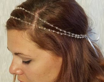 Bead and ribbon head band