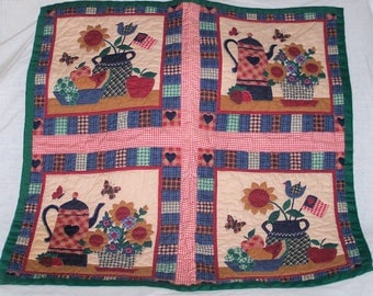 "Hand Sewn Quilted Wall Hanging (30""LX 37""W) ""Mama's Kitchen"""