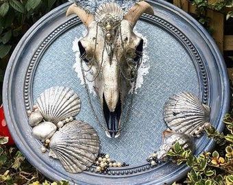 Seaside themed Silver leafed Sheep Skull
