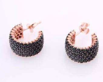 Black Onyx 925 Sterling Silver Hoop Earrings