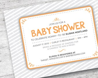 Printable Baby Shower Invitation | Customize Baby Shower Invite | Stripe Invitation | Baby Invitation| Baby Shower | DIY