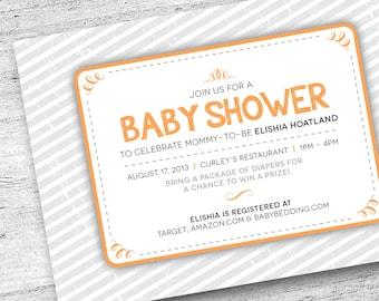 Printable Baby Shower Invitation | Customize Baby Shower Invite | Stripe Invitation | Baby Invitation| Baby Shower | DIY