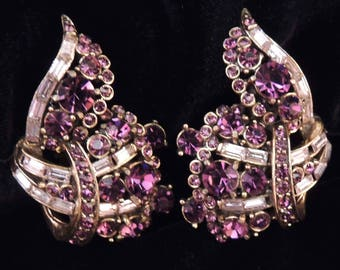 HOLLYCRAFT Earrings, Hollycraft Earrings with Purple Rhinestones, Hollycraft Jewelry, Hollycraft Lavender Earrings, Rhinestone Hollycraft