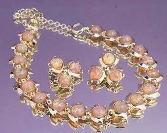 Stunning Vintage Glass Opal Necklace Set / Necklace Earrings Bracelet Set / Faux Opal Necklace Set / Bridal Set / A Place of Distinction