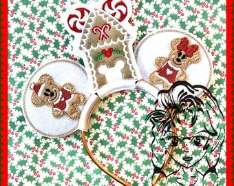 GINGERBREAD HoUSE Christmas Inspired (3 Piece Set) ~ ITH Mr Miss Mouse Ears Headband ~ INSTaNT Download Machine Embroidery Design by Carrie