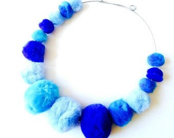 Choker necklace LAGOON -- with faux fur pearls, ombre blue by The Sausage