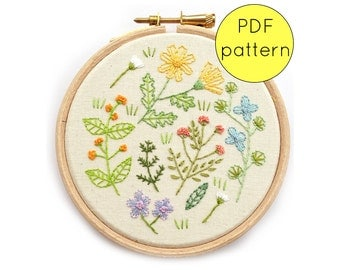 Wildflower Embroidery Hoop Art Pattern, PDF Instant Download, Flower Embroidery Pattern