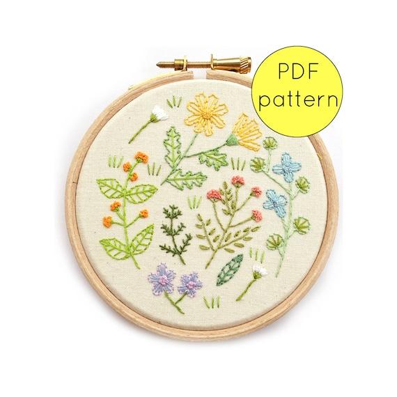 Wildflower embroidery hoop art pattern pdf instant download