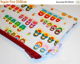 SALE SALE SALE - 20% Off Long Padded Zippy Pouch / Matryoshka Cosmetic Case / Nesting Dolls  Clutch / Cute Pencil Case / Knitting Needle & C