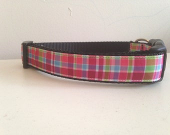 1 inch Pink, Green, Blue Spring Plaid Dog Collar