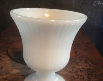 Ribbed Milk Glass Footed Compote Vase Brody Vintage Wedding