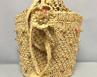 Fun Raffia BEADED Straw Bag, Vintage 1940's / 1950's BOX BAG Purse, w Beading