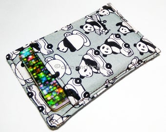 Panda going places, gift for men, fabric slim card wallet, business card holder, id1360262 portefeuille, minimalist, front pocket wallet