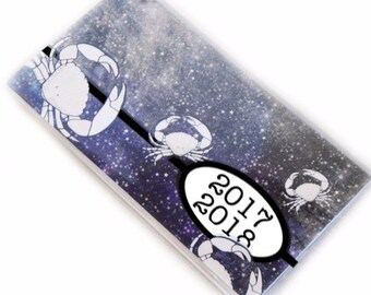 2017 - 2018  mini Planner - Crab Nebula pocket planner - two year calendar - 2 year monthly planner - Cancer zodiac unisex stocking stuffer
