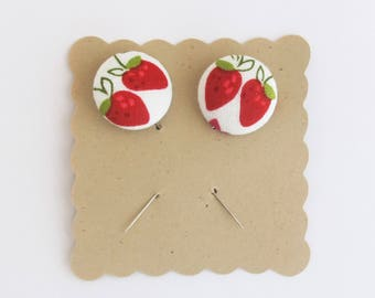 Decorative Pins for Gift Packaging | Two strawberry pins for attaching notes to gifts.