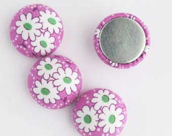 Flat Back Fabric Cabochon 22mm | 7/8 inch floral fabric charms for scrapbooking embellishments, textile jewelry, magnets.