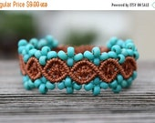FLASH SALE Micro-Macrame Beaded Bracelet - Brown and Blue