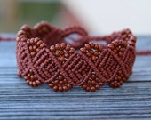 REDUCED. Micro-Macrame Beaded Bracelet. Brown Beaded Bracelet. Macrame Jewelry. Tie On Bracelet. Adjustable Beaded Bracelet. Arm Candy.
