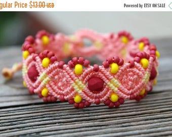 SALE Micro-Macrame Beaded Bracelet - Pink and Yellow