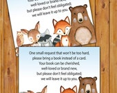 Woodland Animals In Lieu of card, Book Baby Shower Invitation Inserts Fox Instead of a card Camo pattern Printable PDF--Instant Download