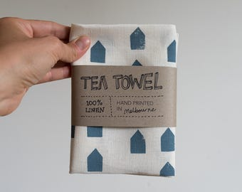 Linen Tea Towel - House pattern in blue ecofriendly ink, hand screen printed in Melbourne