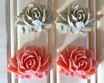 Vintage Inspired Resin Flower flatback Cabochon peach or ivory set of two