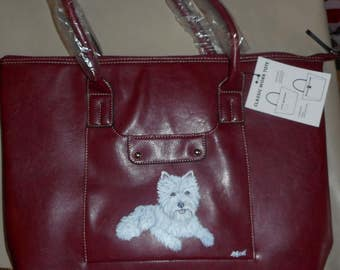 West Highland White terrier Dog Hand Painted Leather Handbag Purse Totebag Laptop bag